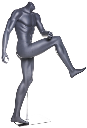 Headless Matte Gray Soccer Mannequin High Kick.  This mannequin is in a dramatic pose, diving for the ball.  Made of fiberglass.
