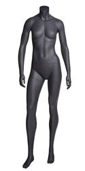 Matte Grey Headless Grey Female Mannequin.  Athletic form great for displaying activewear. She's standing in a sassy pose with her arms at her sides.