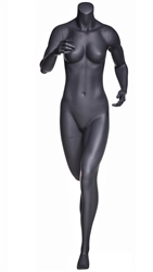 Matte Grey Headless Running Female Mannequin.