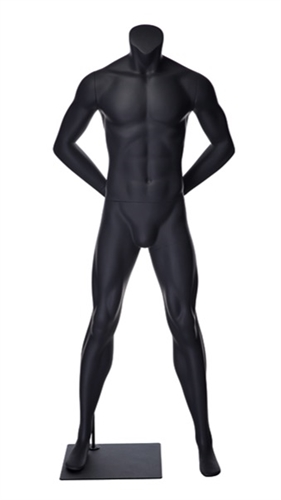 Matte Grey Headless Grey Male Mannequin.  Athletic form great for displaying activewear. He's standing in a strong straight on pose with his arms behind his back.