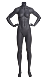 Matte Grey Headless Grey Female Mannequin.  Athletic form great for displaying activewear. Hands on hips in strong straight on pose