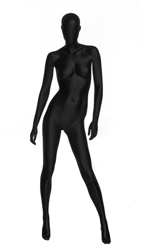 Black Matte Female Mannequin with Abstract Egghead