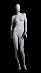 White Mannequin Abstract Head Female with arms to each side