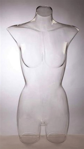Clear Female 3/4 Torso Form Unbreakable