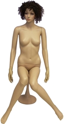 Sitting Unbreakable Female Mannequin in Tan with Facial Features