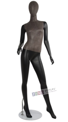 Distressed Leather-Like Mixed Fabric Mannequin Right Hand on Hip Left Leg Out