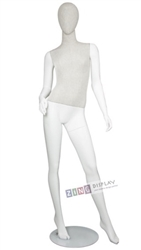 Linen Mixed Fabric Mannequin Right Hand on Hip Left Leg Out