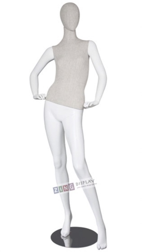 Linen Mixed Fabric Mannequin Hands on Hip Left Leg Out