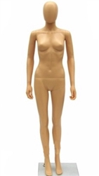 Female Mannequin made of Unbreakable Plastic in Tan She has an abstract egghead or can be headless.