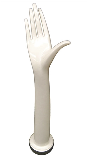 "20"" Ladies Right Jewelry Display Hand in White Plastic for Displaying Jewelry or Gloves from www.zingdisplay.com"