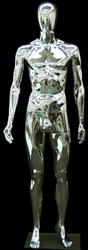 Unbreakable Male Egghead Mannequin in Glossy Chrome. Constructed of durable plastic.