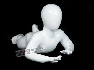 Toddler Mannequin Egghead Glossy White Crawling