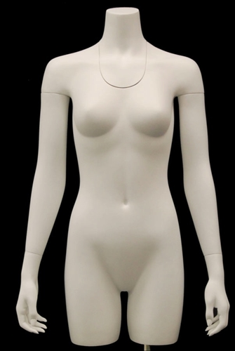 3/4 Torso Display Ghost Matte White Female Headless