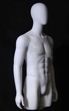 Matte White Male Torso with Abstract Egghead from www.zingdisplay.com