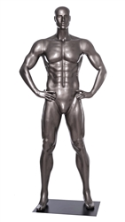 Glossy Grey Male Mannequin with Athletic Build.  This mannequin has his hands on his hips in a strong, athletic pose.  Made of fiberglass.