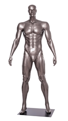 Glossy Grey Male Mannequin with Athletic Build.  This mannequin has his arms at his sides in a strong, athletic pose.  Made of fiberglass.