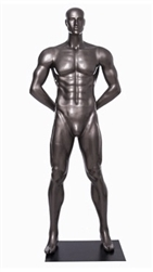 Glossy Grey Male Mannequin with Athletic Build.  This mannequin has his hands behind his back in a strong, athletic pose.  Made of fiberglass.