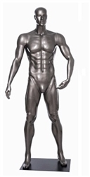 Glossy Grey Male Mannequin with Athletic Build.  This mannequin has his left hand bent to hold the ball of your choice in a strong, athletic pose.  Made of fiberglass.