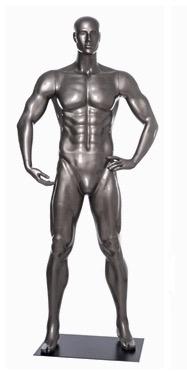 Glossy Grey Male Mannequin with Athletic Build.  This mannequin has his right hand bent to hold the ball of your choice in a strong, athletic pose.  Made of fiberglass.