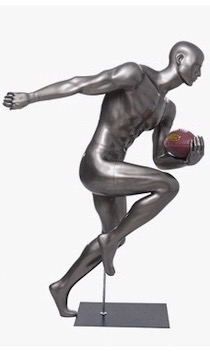 Glossy Grey Male Mannequin with Athletic Build.  This mannequin has his left hand bent to hold the ball of your choice in a sprinting pose.  Made of fiberglass.