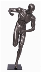 Glossy Grey Male Mannequin with Athletic Build.  This mannequin has his right hand bent to hold the ball of your choice in a running pose.  Made of fiberglass.