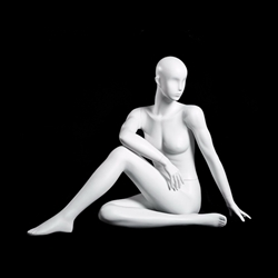 Glossy Pearl Female Yoga Mannequin - Seated Twist