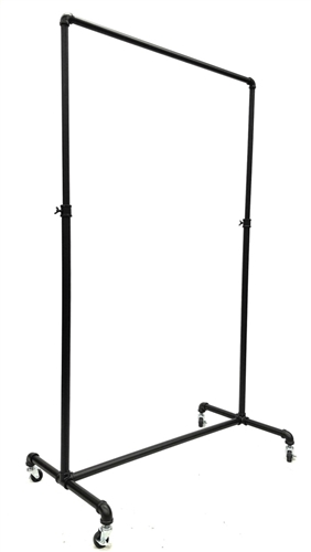 Industrial Pipe Bar Single Hang Rail Rolling Rack Black