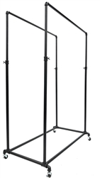 Industrial Pipe Bar Double Hang Rail Rolling Rack Black