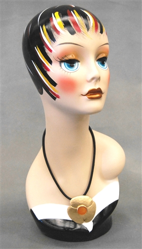 Vintage Painted Female Display Head