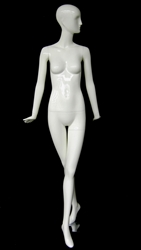 Glossy White Female Mannequin with Abstract Head from www.zingdisplay.com