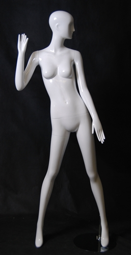 Female Mannequin in Glossy White with an Abstract Head from www.zingdisplay.com