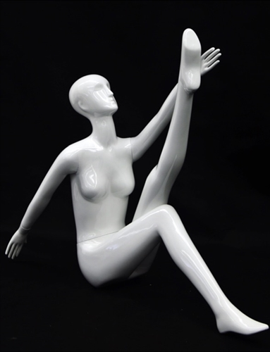Yoga Mannequin Female in Glossy White made of Fiberglass