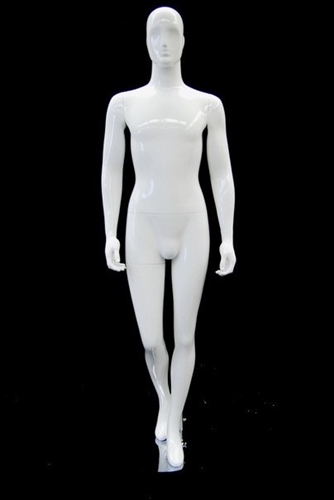 Glossy White Male Mannequin with Abstract Egghead from www.zingdisplay.com
