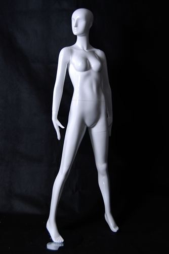 Female Mannequin in Glossy White. Posed in a wide, sassy stance.  From www.zingdisplay.com