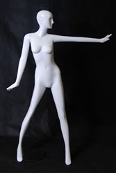 Glossy White Female Mannequin in Sassy Pose with Abstract Head from www.zingdisplay.com