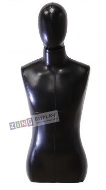 Black Male 1/2 Torso Display Form with Removable Head