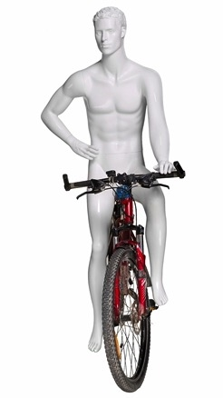 Male Cyclist Bike Riding Mannequin - Glossy White - Resting Pose
