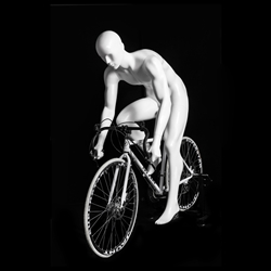 Male Cyclist Bike Riding Mannequin - Glossy White
