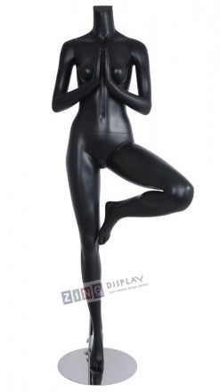 Female Yoga Mannequin Matte Black Tree Pose Headless Changeable Heads