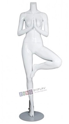 Female Yoga Mannequin Glossy White Tree Pose Headless Changeable Heads
