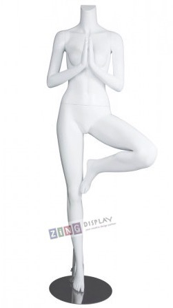 Female Yoga Mannequin Matte White Tree Pose Headless Changeable Heads