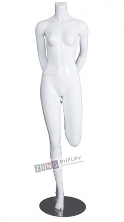 Female Yoga Mannequin Glossy White Hip Flexor Stretch Headless Changeable Heads