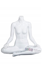 Female Yoga Mannequin Glossy White Ohm Pose Headless Changeable Heads