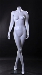 Glossy White Headless Female Mannequin in Walking Pose from www.zingdisplay.com