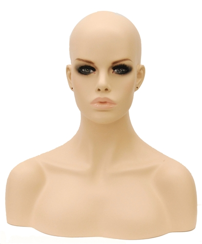 Fleshtone Display Female Head Full Makeup w/ Shoulders.   Nice counter top head display for jewelry, hats or wigs