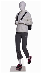 Female Walking / Hiking Mannequin - Glossy White - Backpack Holding Pose