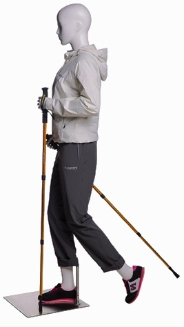Female Walking / Hiking Mannequin Glossy White - Walking Stick Holding Pose