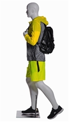Male Walking / Hiking Mannequin Glossy White - Backpack Holding Pose