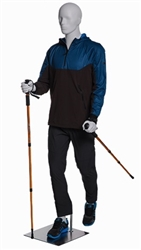 Male Walking / Hiking Mannequin Glossy White - Walking Stick Holding Pose