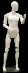 Male mannequin with movable elbows, hips and knees for maximum flexibility in your displays.